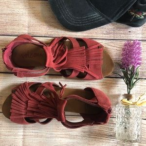Burgundy Volcom Tassel Sandals